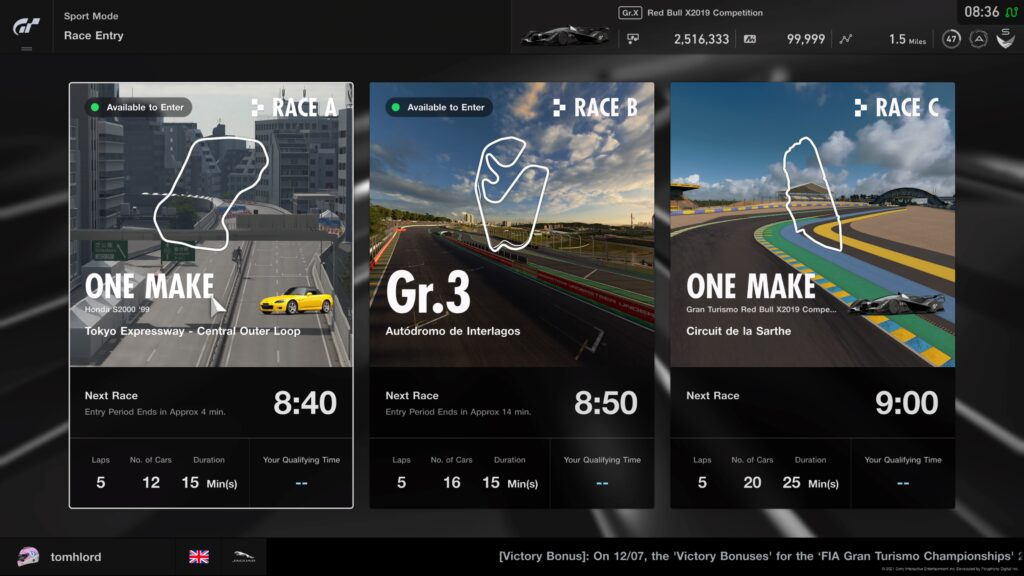 GT Sport Daily Races 19th July 2021