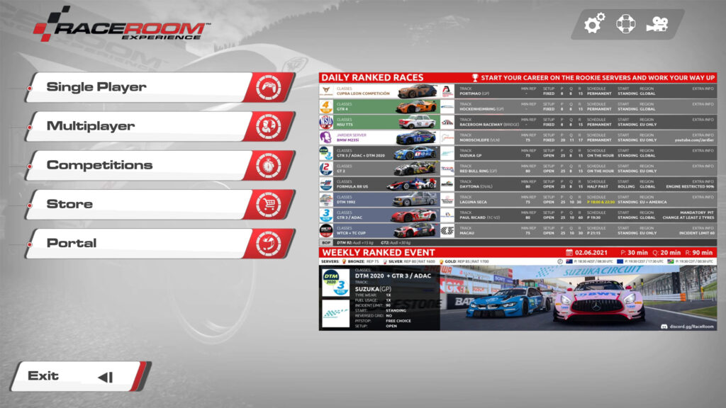 RaceRoom Racing Experience Home Page with Ranked Multiplayer Playlist