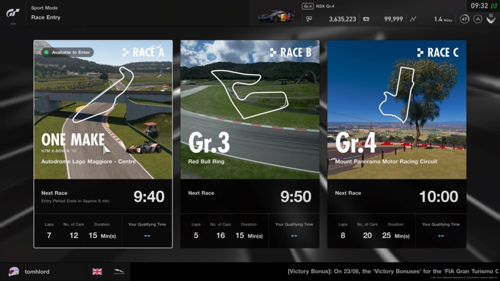 GT Sport Daily Races week commencing 30th August 2021