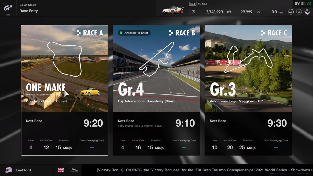GT Sport Daily Races week commencing 6th September 2021