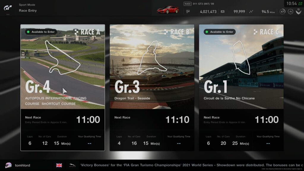 Gt Sport Daily Races 20th September 2021