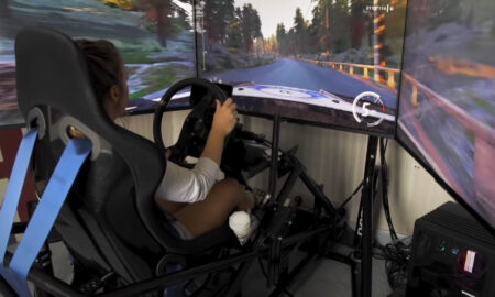 WATCH: Rally driver Louise Cook's rally sim set-up is immense