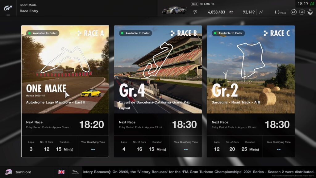 GT Sport Daily Races 11th October 2021